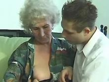 Ancient granny fucked by young guy