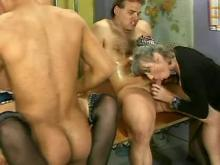 Old whores gangbang with young guys