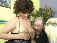 Mature whores share cock of old man