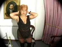 Old grandma in sexy lingerie strips