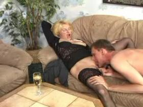 Mature swinger couples making sex on sofas after dinner