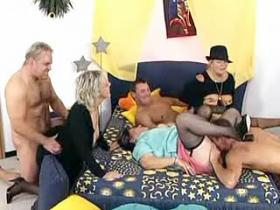 Grandma gets juicy creampie in awesome gangbang