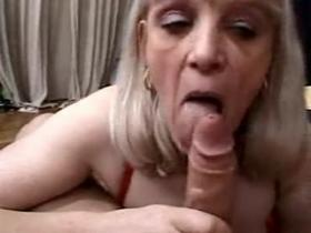 Lewd granny with hairy pussy fucks like young slut