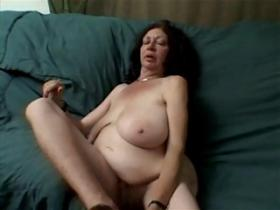 Grandma with big flabby boobs sucks and rides dick