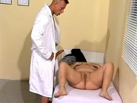 Young doctor examines and fucks breasty old woman