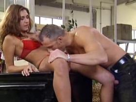 Gorgeous longhaired milf fucking her lover wild