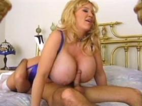 Horny as hell breasty mama fucks hard and gets cum