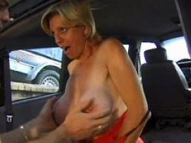 Dirty blond milf cockriding in car and getting cum