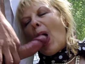 Old titty slut gets double cum load in forest