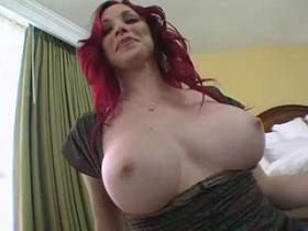 Fiery redhead milf fucking brains out in the air