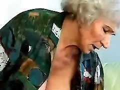 Lewd old granny rides young dick