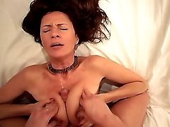 Brunette mature fucks and gets cum