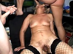Three guys fuck granny in all holes