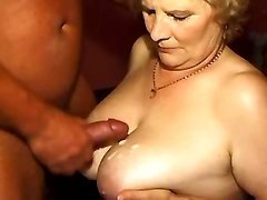 Man fucks grandma and jizz on boobs