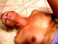 Blond mom fucks on floor
