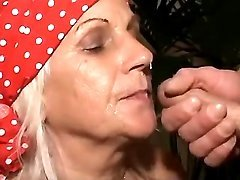 Granny get numerous cumload on face
