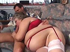 Fat lewd granny does hot blowjob and gets titsfuck