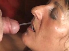 Brunette aged mature getting facial after hot fuck