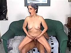 Depraved granny does blowjob and jumps on big cock