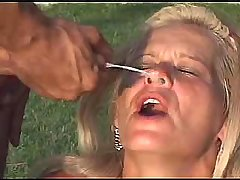 Beauty milf gets facial after hard orgy outdoor