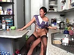 Granny does blowjob n fucks from behind in kitchen