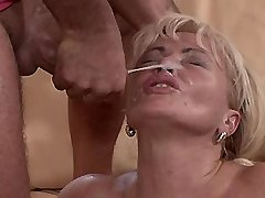 Blonde mature fucks in diff poses and gets facial