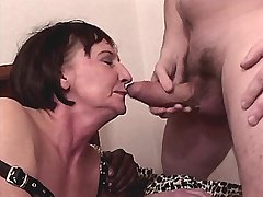 Depraved granny has oral n hot fuck with two guys