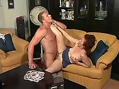 Grandma sucks big cock n has fuck with guy on sofa
