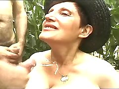 Three guys fucking busty mature n jizzing outdoor