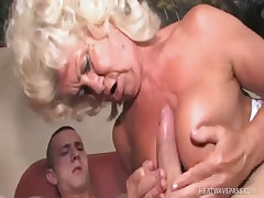 Big titty grandma budai takes a sticky load on her knockers