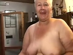 Old greyhaired lady sucks