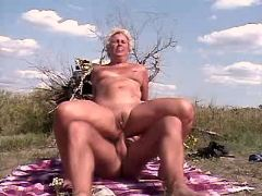 Granny sucks n has hot anal outdoor
