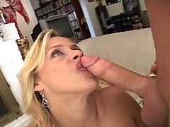 Milf gets pounded hard by a big cock and gets cream pie