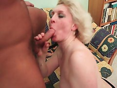 Granny lets a boy take off dress & touch her pussy