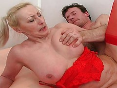 Lustful granny is ready to fuck in the dormitory